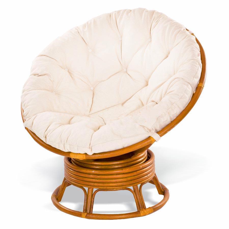 Кресло круглое плетеное с мягкой подушкой